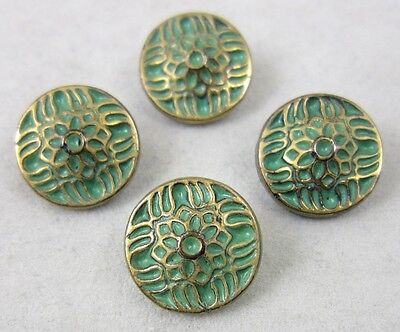 Antique Victorian Black Glass Buttons ~ Green Paint w/Gold Luster ~ 4 Matching