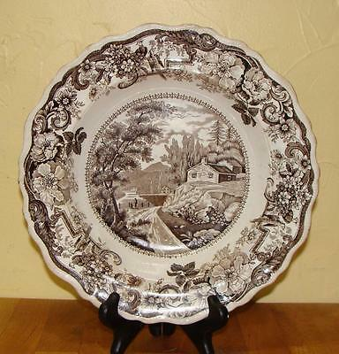 "Staffordshire Historical Transfer Soup Bowl, ""Hudson River"", Clews, c. 1840"