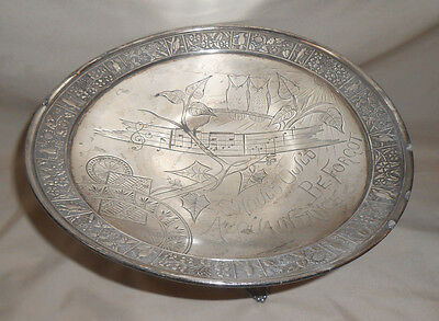 Antique Derby Silver Co.Silverplate Dish Should Oul'd Aquaintance Be Forgot Owls