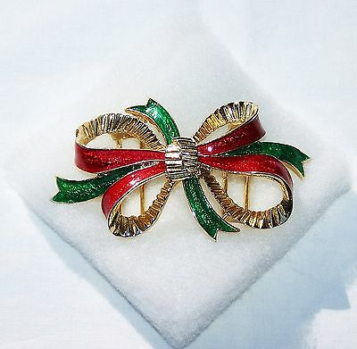 Rare MIMI DI N RED & GREEN ENAMEL BOW BELT BUCKLE 1994 Gold Plated