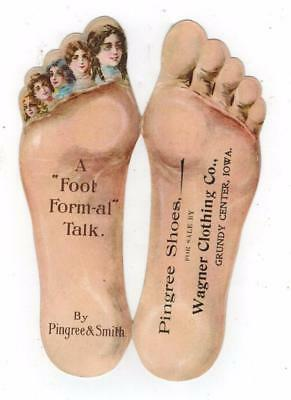UNUSUAL Die-Cut Victorian Trade Card Foot Shaped PINGREE SHOES Grundy Center IA