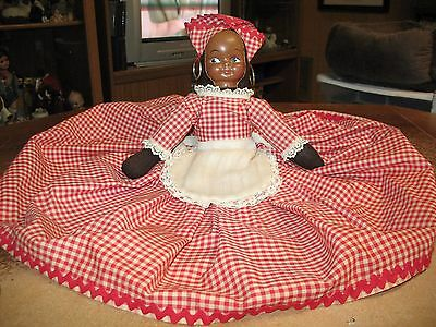 Vintage Black Americana Jamaican Lady Doll Toaster Cover w/plastic face NR