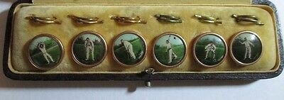 Rare!! Antique Set~ 6 Waistcoat Buttons W/case~Sport Lithograph Pictures Vintage