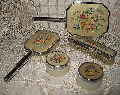 5pc VINTAGE ART DECO STYLE SILVER-TONE PETIT POINT VANITY SET England