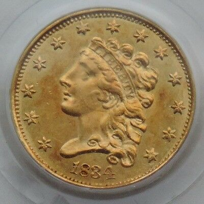 1834 $2.50 Gold Classic Head PCGS AU55 - WIDE AM Variety