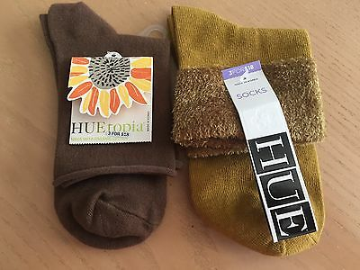 (NWT) 2 PAIRS of Women's Cotton Socks, Brown/Olive