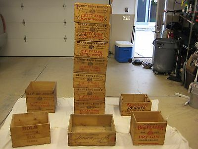 Lot of 12 Vintage wooden crates, Cutty Sark, Bols, Lanson, Beefeater,White label