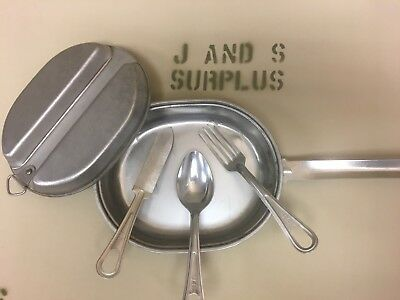 Vintage Stainless Mess kit with Knife Fork Spoon official USGI Military USMC