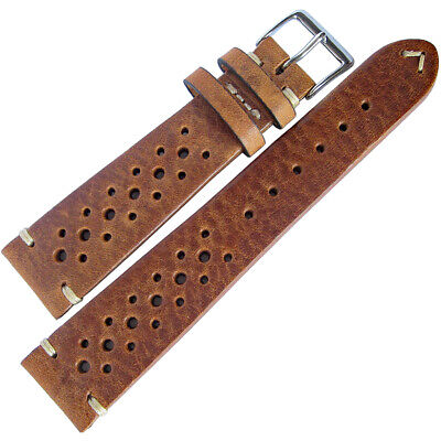 20mm Fluco Hunter Racing Rally Tobacco Brown German Leather Watch Band Strap