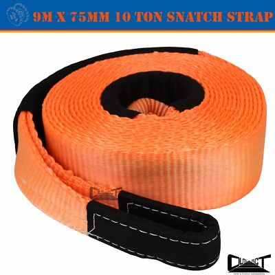 Recovery Straps 75mm X 10M Snatch Strap Winch Extension 12Ton 4WD 10064