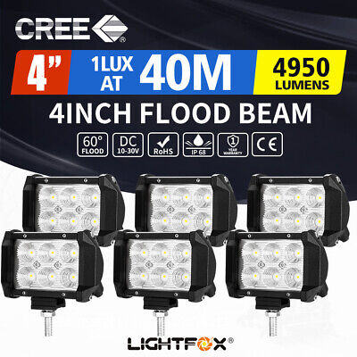 6X 4inch 30W CREE LED Work Light Bar Flood Beam Driving Offroad 4x4 Reverse