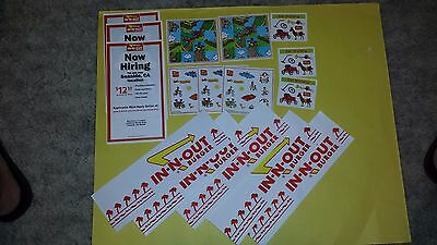 IN-N-OUT LOT of 5 PAPER HATS AND 8 STICKERS from INNOUT BURGER RESTAURANT--NEW!!