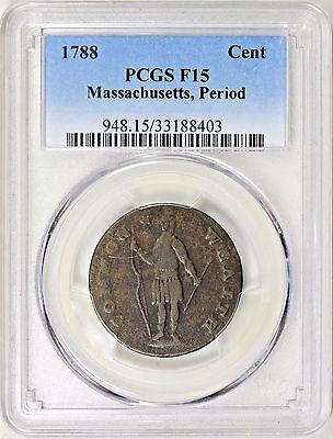 1788 Colonial Massachusetts Copper (Period After) PCGS F15
