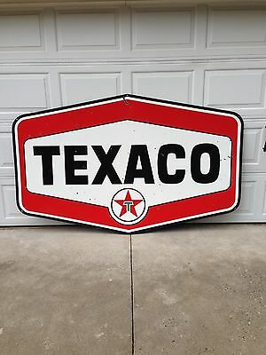 Vintage Original Large Texaco Double Sided Porcelain  Sign--Nice