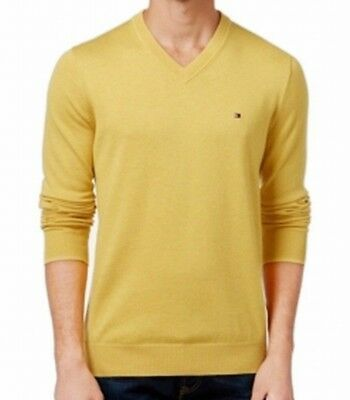 Tommy Hilfiger Sweater Mens V-Neck Pullover Cotton Large Yellow Long Sleeve