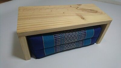 Bolster Block Back Support Pillow  Yoga and Meditation Cushion Plus Wooden Stool