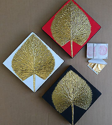 Gilded painting gold leaf painting modern decorative wall art – Red leaf