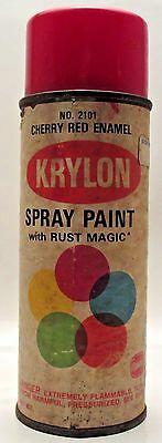 Krylon Cherry Red Paper Label1968 VTG  Spray Paint Can Rare
