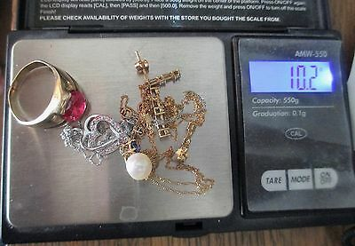 Gold Lot For Scrap Or Not 9Pc Necklaces Pendants Earrings Ring Pearl Diamonds