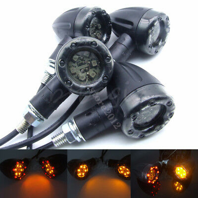 4x Motorcycle LED Amber Turn Signal Rear Break Red Lights Integrated Indicators
