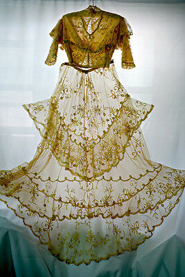 Antique Victorian Edwardian wedding dress: top and skirt, Brussels Princess lace