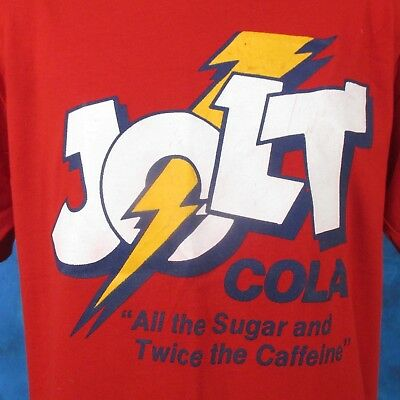 vintage 80s JOLT COLA T-Shirt MEDIUM/LARGE soda pop surf beach cartoon soft thin