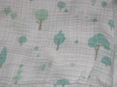 weegoamigo 100% cotton muslin Swaddling blanket Trees on White EUC