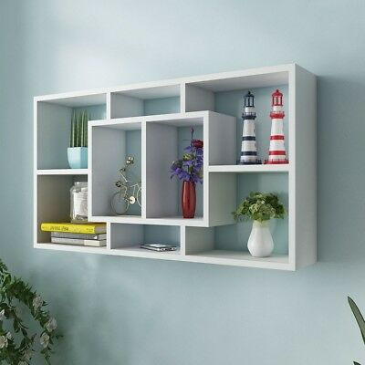 Shelf Bookshelf Storage Bookcase Display Wall Floating Wooden Stand Decor White