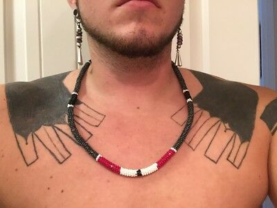 Native American Made Beaded necklace Wrap stitch beadwork with COA Brain tan