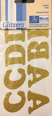 IRON ON GOLD GLITTER LETTERS x 1 PACK - 40 LETTERS