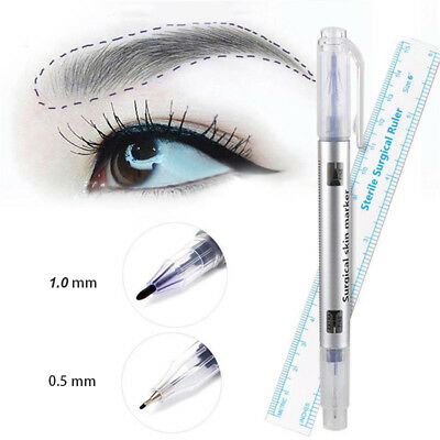 2Pcs Microblading Tattoo Eyebrow Skin Marker Pen & Measure Measuring Ruler Good