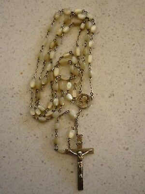 Vintage Mother Of Pearl And Sterling Silver  Rosary Beads