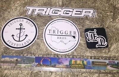 Large Trigger Bros Surfboard Stickers Surf