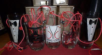 5 ITALIAN  1970s  NOVELTY LANYARD DRINKING GLASSES GOOD CONDITION