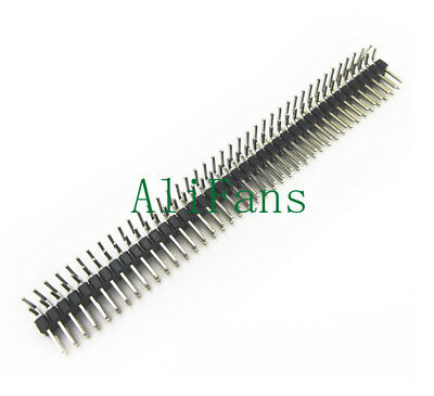 2PCS 2.54mm 2 x 40 Pin Male Double Row Right Angle Pin Header Strip