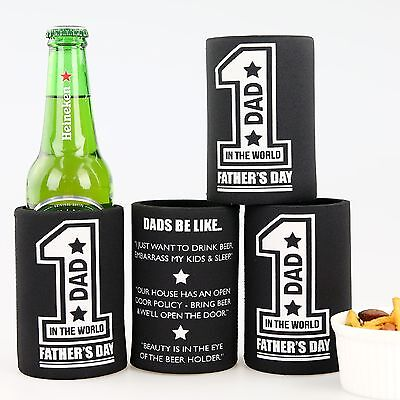 Personalised Father's Day Gift Printed Stubby Holder Dad Beer Can Cooler Present