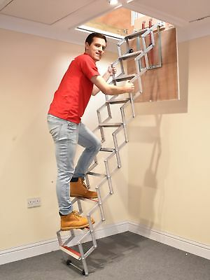 Concertina Loft Ladder up to 8ft / 2.44m (9 Treads) Fits almost all lofts