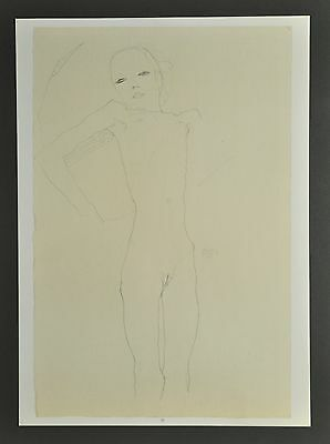 Egon Schiele Lichtdruck Collotype 36x50 Signed Mädchenakt Nude Young Girl 1911