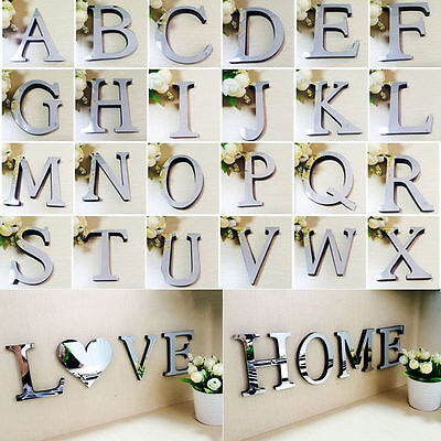 Acrylic Sticker 26 Letters Home Decoration English 3d Mirror Wall Alphabet DIY
