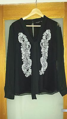 JacquieE Black Long Sleeve Blouse Size 16