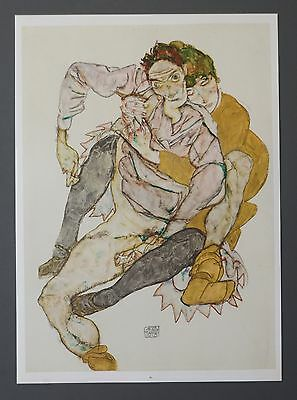 Egon Schiele Original Lichtdruck Collotype 36x50 Signed Menschenpaar 1915 Couple