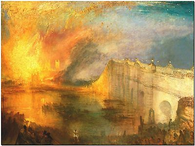 """William Turner Burning of Parliment Canvas Print Poster 18X24"""""""