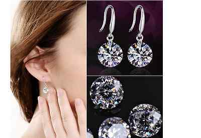 Cubic Zirconia Drop 925 Sterling Silver With White Gold Plated Hook Earrings New