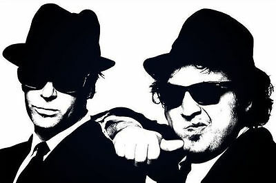 """BLUES BROTHERS - Black & White - Jake and Elwood - Canvas Print Poster 18X12"""""""
