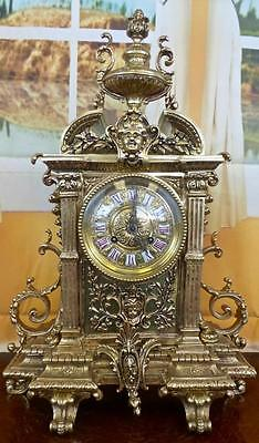 Large antique French 19th c solid gilt bronze 8 day bell striking mantle clock