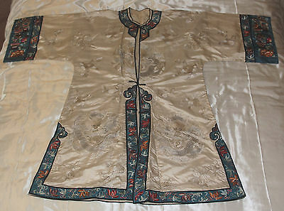 Antique Silk Chinese robe gown, embroidered dragons & flower motif borders 1920s