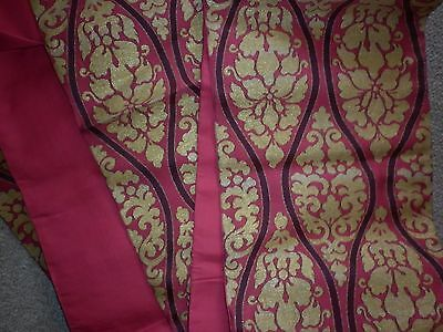 Vintage Japanese Gold And Red  Silk Brocade Obi Sash Excellent  Condition