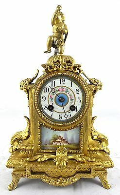 Antique 19th c French Japy Freres gilt mantel clock with Sevres porcelain