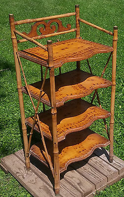Antique Victorian Pyrography Pattern 4 Tier Bamboo Music Stand Floor Shelf
