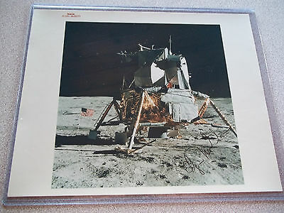 Edgar Mitchell Autographed Apollo 14 Vintage NASA Red # Lunar Module (LM) Photo